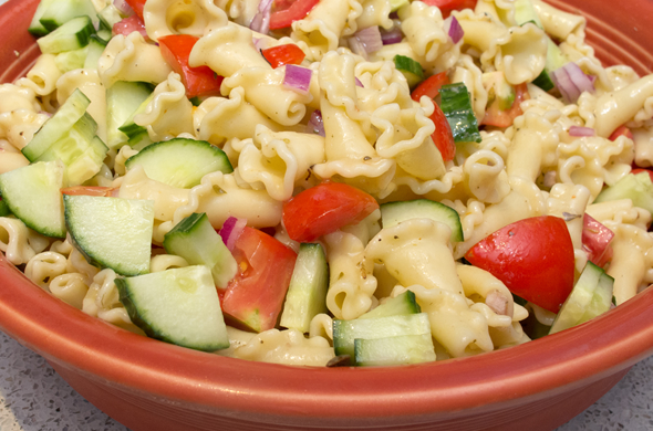 The Three bite Rule - Greek Pasta Salad