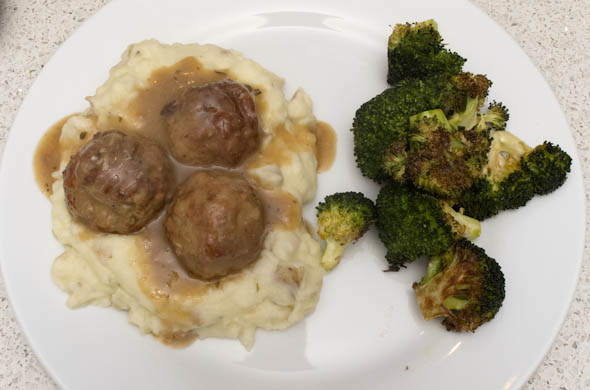 The Three Bite Rule - Garlic Meatballs over Faux Mashed Potatoes