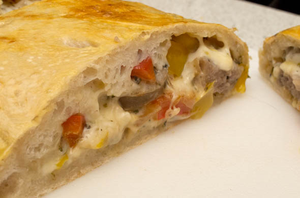 The Three Bite Rule - Sausage & Peppers Calzone