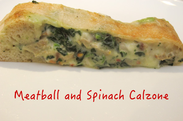 The Three Bite Rule - Meatball and Creamy Spinach Calzone