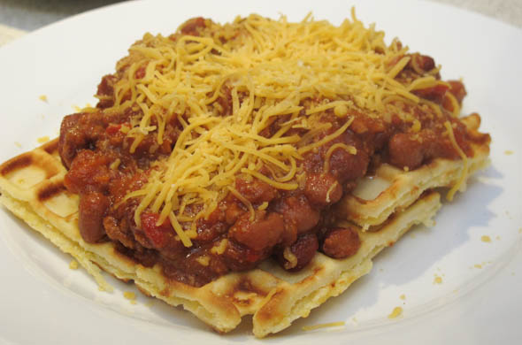 The Three Bite Rule - Chili over Cornbread Waffles