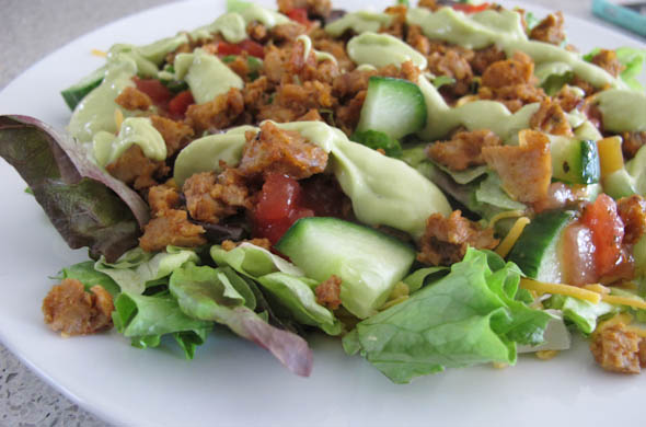 The Three Bite Rule - Taco Salad with Avocado Lime Dressing