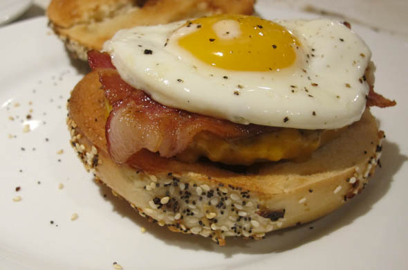 The Three Bite Rule - Breakfast Bagel Burger