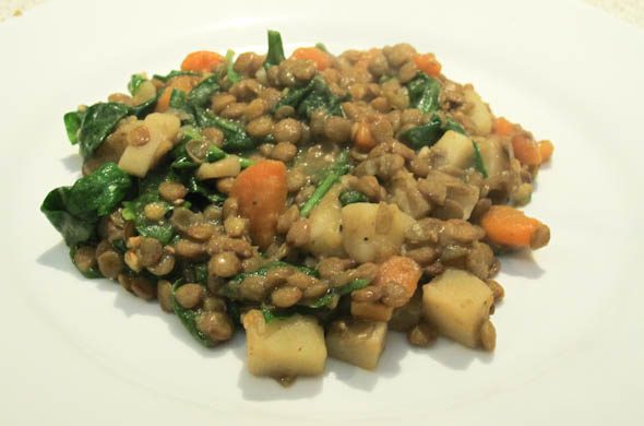The Three Bite Rule - Lentils with Carrots & Spinach topped with Chicken Sausage