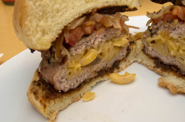 The Three Bite Rule - Mac & Cheese Stuffed Burger