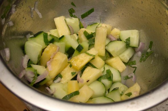 The Three Bite Rule - Pineapple, Cucumber, Mint Salad