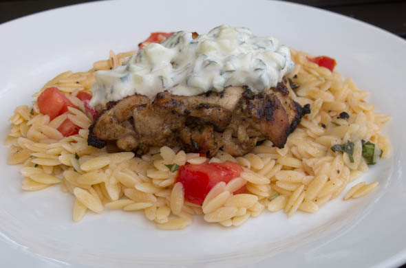Herb Marinated Chicken over Orzo - The Three Bite Rule