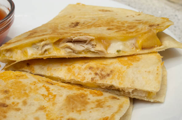 The Three Bite Rule - Chicken, Peach & Cheese Quesadilla