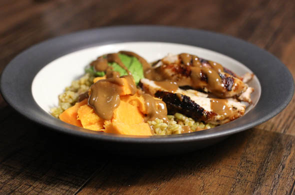 The Three Bite Rule - Chicken with Peanut Sauce Grain Bowls