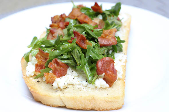 The Three Bite Rule - Arugula Toast with Bacon
