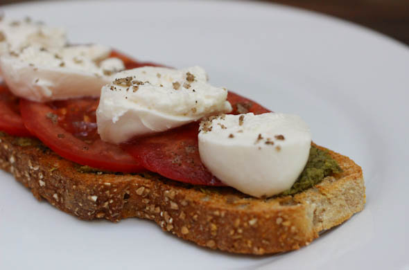 The Three Bite Rule - Burrata, Pesto, Tomato Toast