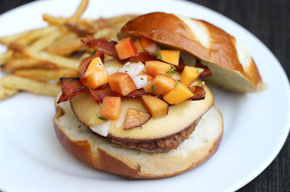 The Three Bite Rule - Burger with Smoked Gouda & Peach Relish