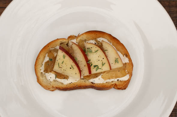 The Three Bite Rule - Crostini with Boursin, Apple & Caramelized Onions