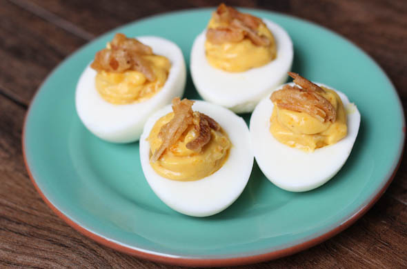 The Three Bite Rule - French Onion Deviled Eggs