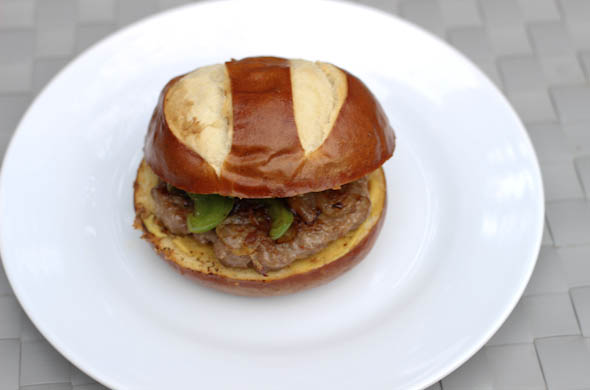 The Three Bite Rule - Sausage Pretzel Burger