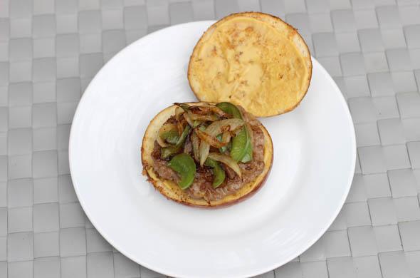 The Three Bite Rule - Sausage Pretzel Burger