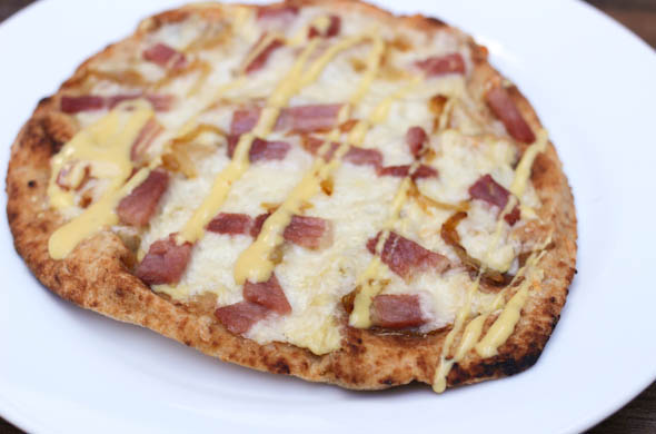 The Three Bite Rule - Ham & Cheddar Pizza with Mustard Drizzle