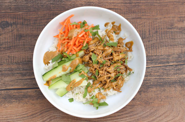 Thai Peanut Coconut Rice Bowl - The Three Bite Rule