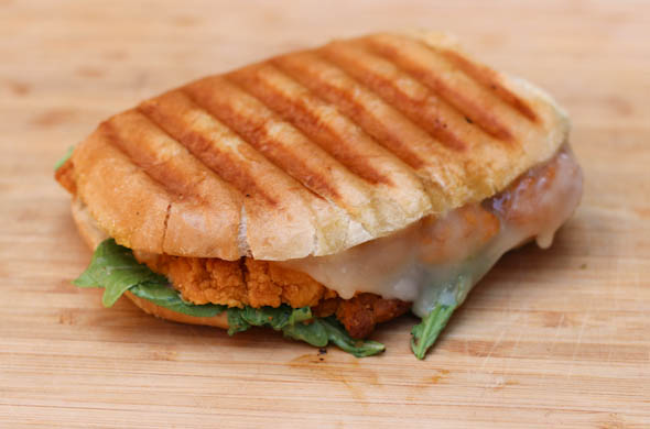 The Three Bite Rule - Crispy Chicken Panini with Maple Dijon Arugula