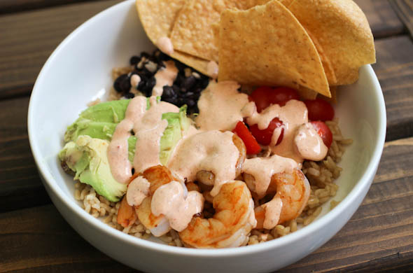The Three Bite Rule - Chipotle Shrimp Rice Bowl