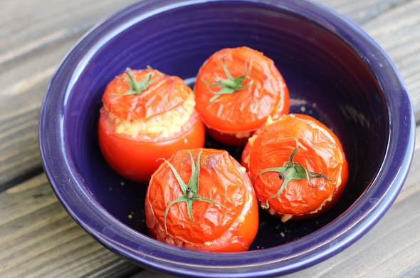 The Three Bite Rule - Pesto Risotto Stuffed Tomatoes