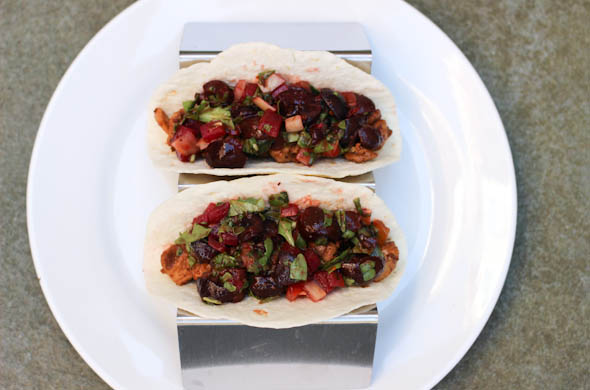 The Three Bite Rule - Cherry Salsa on Chicken Tacos