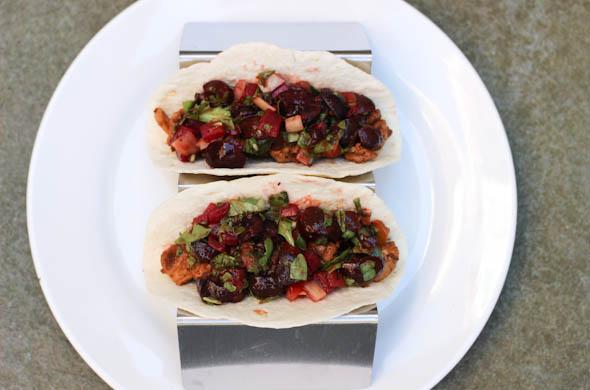 The Three Bite Rule - Cherry Salsa on Chicken Tacos